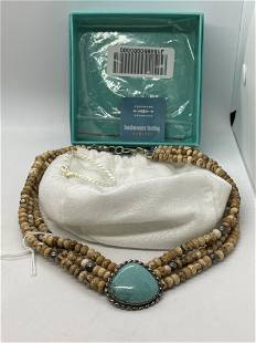 CAROLYN POLLACK TURQUOISE & JASPER STERLING NECKLACE