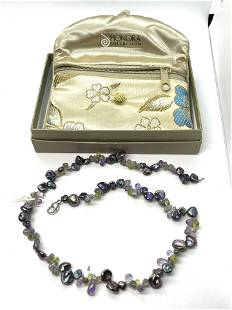 HONORA COLLECTION STERLING SILVER BEADED PEARL NECKLACE