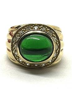 STERLING SILVER GREEN STONE COCKTAIL RING SZ 8
