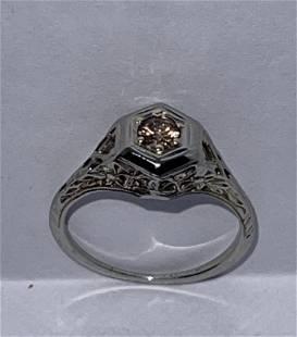 ART DECO 18K GOLD 0.20 CT ROUND PINK DIAMOND FILIGREE