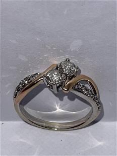 ESTATE 14K GOLD 1.0 TCW SI, H DIAMONDS COCKTAIL RING SZ