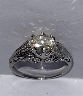 ART DECO 1.0 CT I,J SOLITAIRE DIAMOND FILIGREE RING SZ