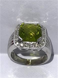 ESTATE 14K GOLD 3 CT GREEN STONE & DIAMONDS RING SZ 7.5