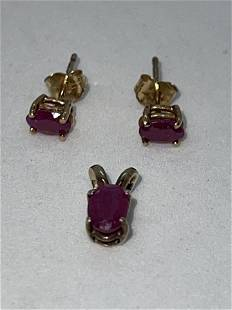 ESTATE 10K GOLD RUBY STUDS AND PENDANT