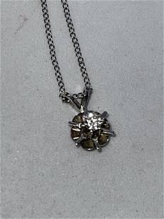 ESTATE 14K GOLD 0.20 CT ROUND SI, G DIAMOND NECKLACE