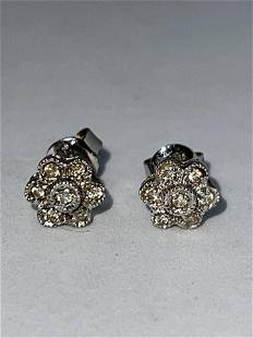 14K WHITE GOLD AND DIAMONDS COCKTAIL STUDS EARRINGS