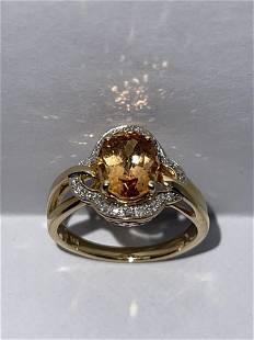 IMPERIAL 14K GOLD TOPAZ & DIAMONDS RING SZ 7