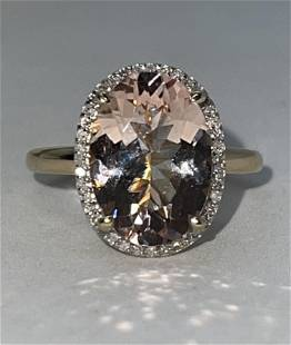 14K GOLD 4 CT MORGANITE AND DIAMOND RING SZ 8