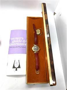 LADIES 14K GOLD BULOVA ACCUTRON WRISTWATCH W/BOX