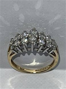 MAGIC GLO 14K GOLD 1.25 TCW SI,G DIAMONDS CLUSTER RING