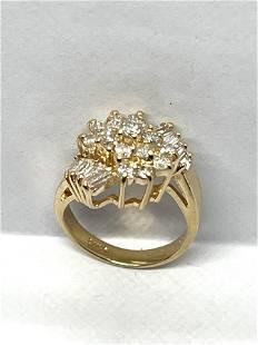 14K GOLD 1.0 TCW VS,G DIAMONDS CLUSTER RING SZ 5