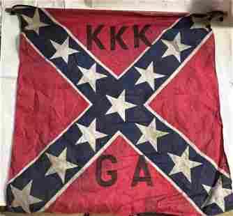 ANTIQUE KKK KU KLUX KLAN CONFEDERATE GEORGIA FLAG