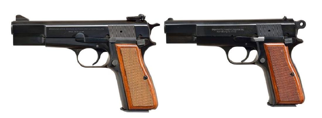 2 BROWNING HI POWER STYLE SEMI AUTO PISTOLS.