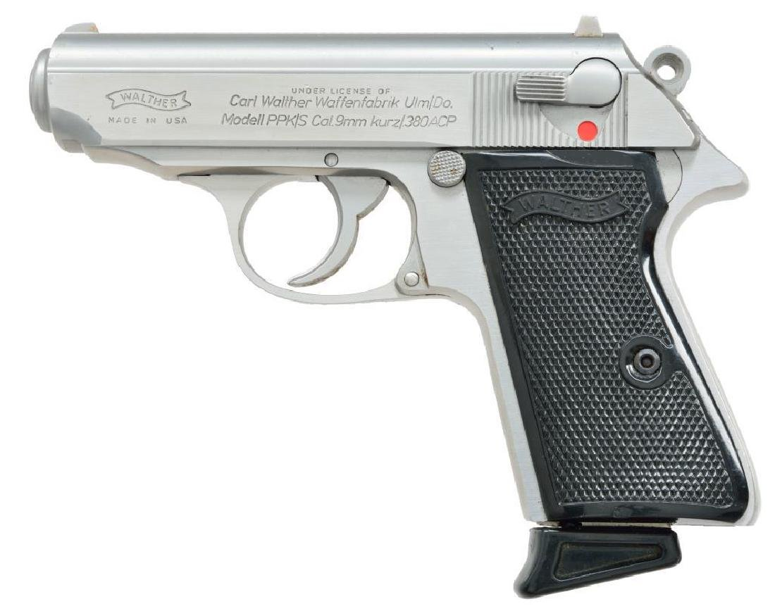 WALTHER STAINLESS PPK/S SEMI AUTO PISTOL.
