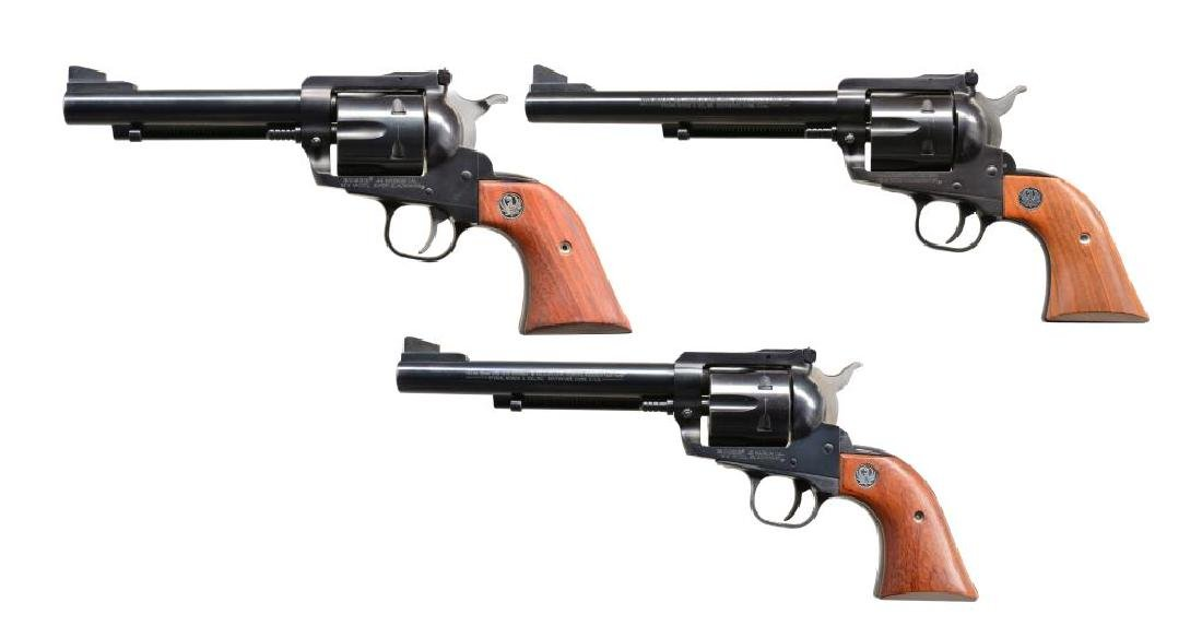 3 RUGER NEW MODEL BLACKHAWK STYLE REVOLVERS.