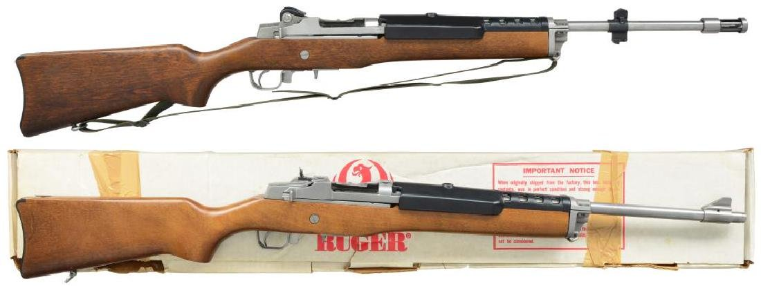 2 RUGER STAINLESS SEMI AUTO RIFLES. MINI-14 &