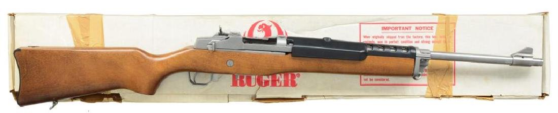 2 RUGER STAINLESS SEMI AUTO RIFLES. MINI-14 & - 3