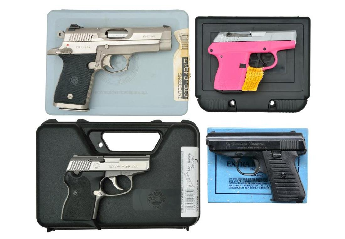 4 BOXED PERSONAL DEFENSE SEMI AUTO PISTOLS.