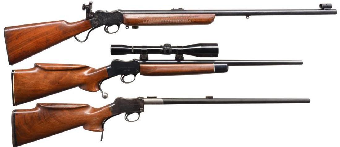 3 MARTINI STYLE SINGLE SHOT RIFLES.