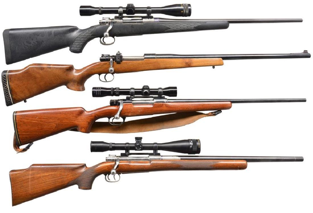 4 CUSTOM MODEL 98 MAUSER BASED BOLT ACTION RIFLES.