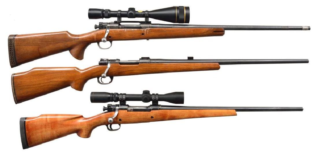 3 MODIFIED MILITARY BOLT ACTION RIFLES.