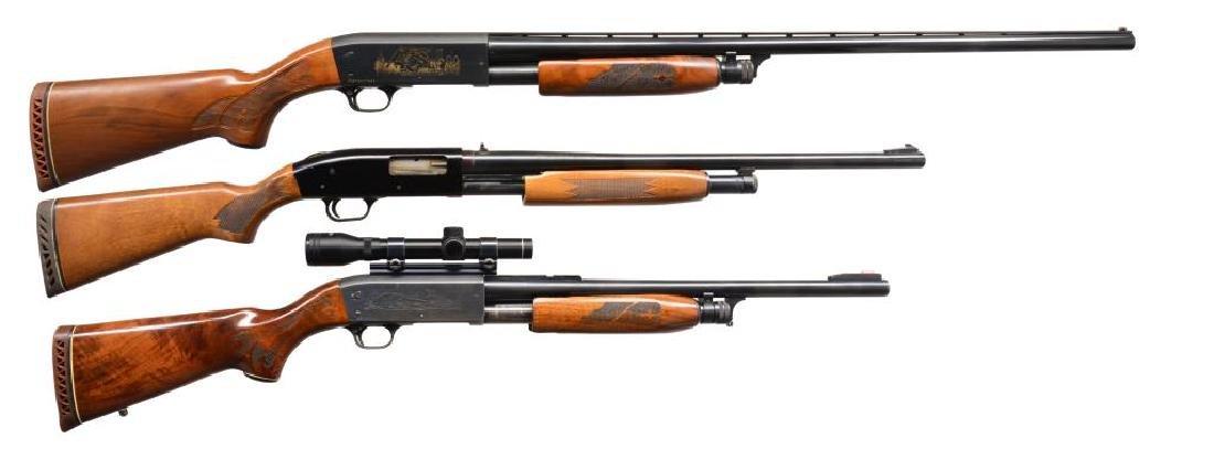 3 PUMP ACTION 12 GAUGE SHOTGUNS. 2 ITHACA & 1