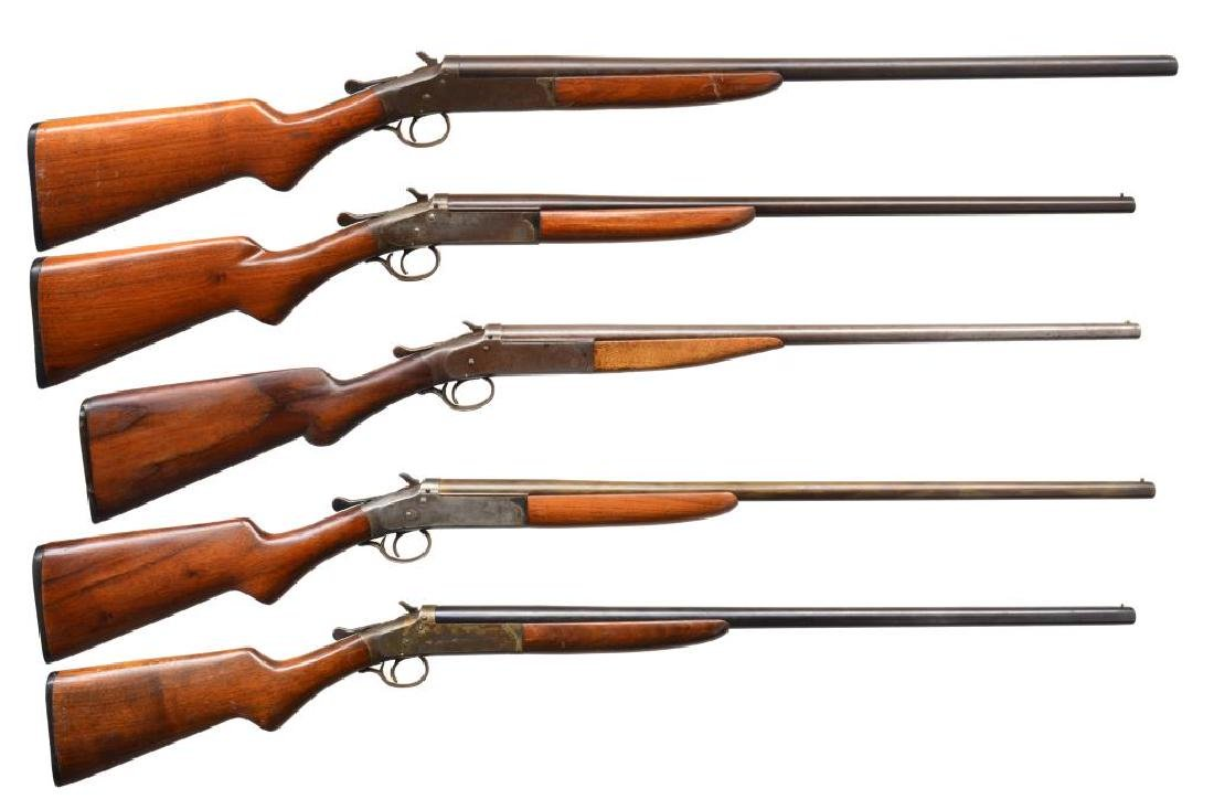5 IVER JOHNSON CHAMPION SINGLE SHOTGUNS.