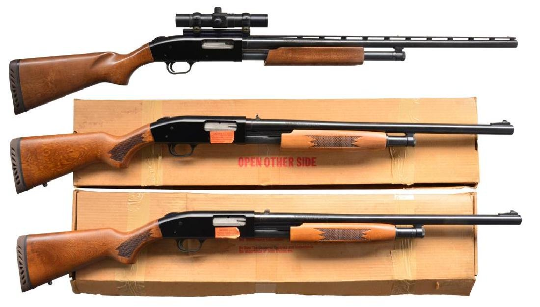 3 MOSSBERG MODEL 500 PUMP ACTION SHOTGUNS.