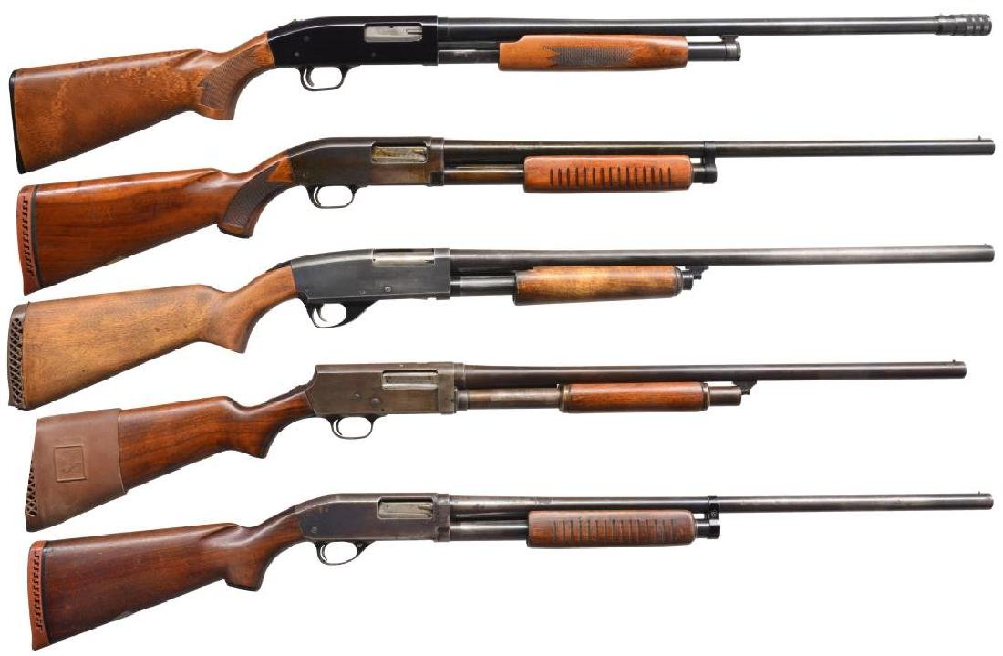 5 AMERICAN 12 GAUGE PUMP ACTION SHOTGUNS.
