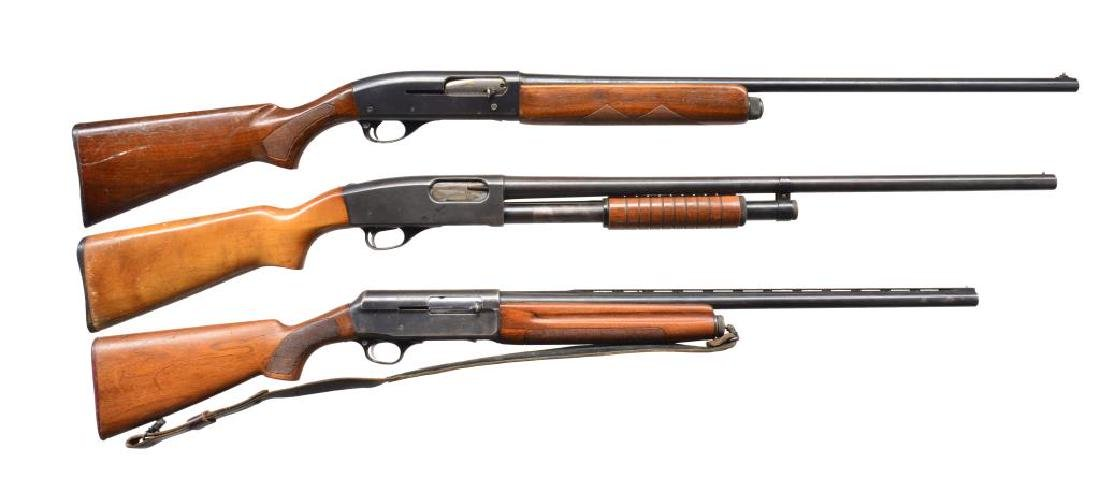 3 SHOTGUNS BY REMINGTON, DEERFIELD AND FRANCHI.