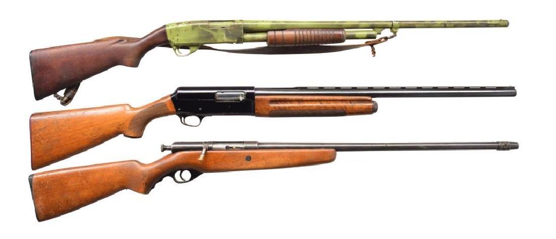 3 SHOTGUNS BY STEVENS, FRANCHI & MOSSBERG.