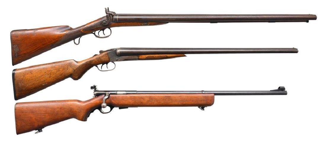 3 LONGARMS: 2 SXS SHOTGUNS, 1 BOLT ACTION RIFLE.