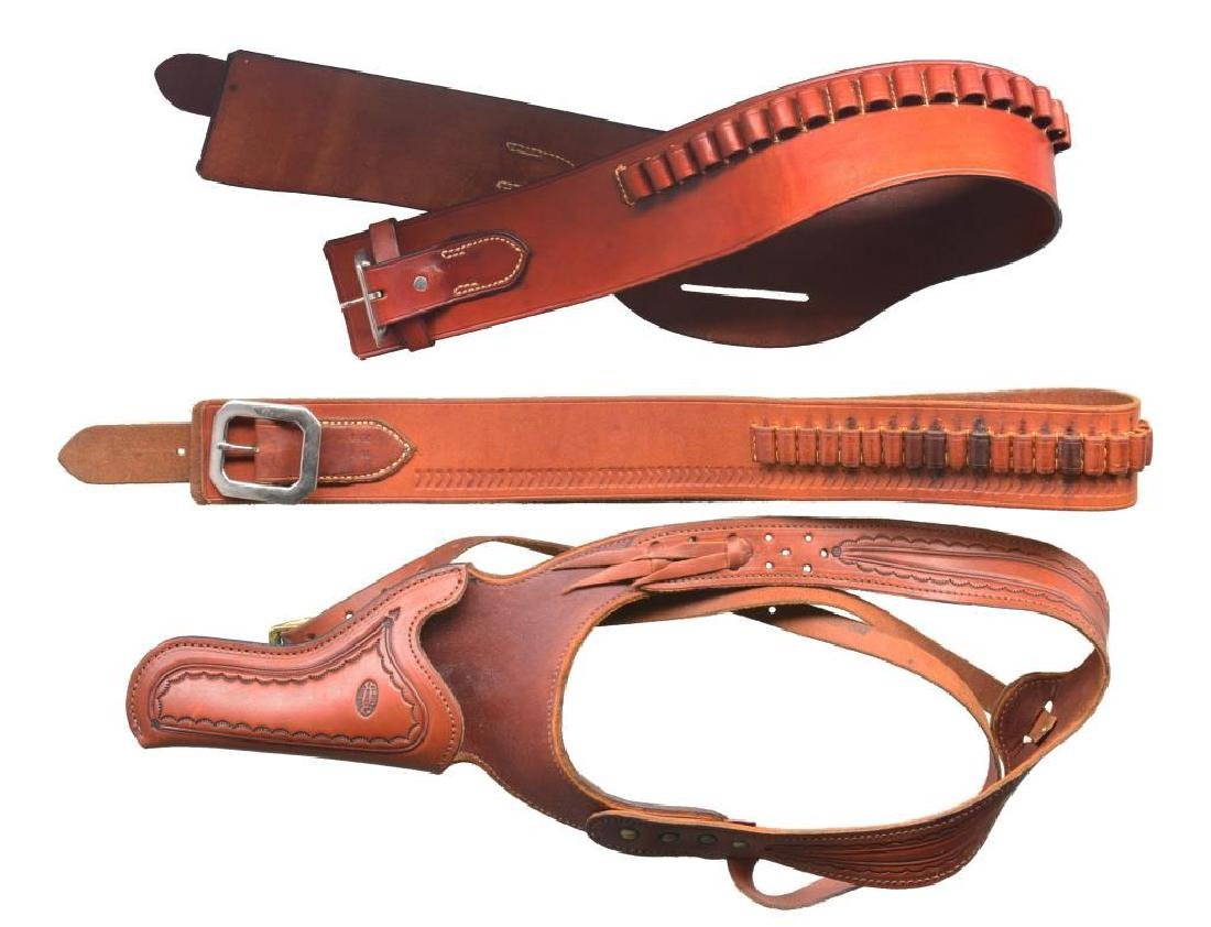 LARGE GROUP OF HOLSTERS, CARTRIDGE BELTS & MUCH - 2