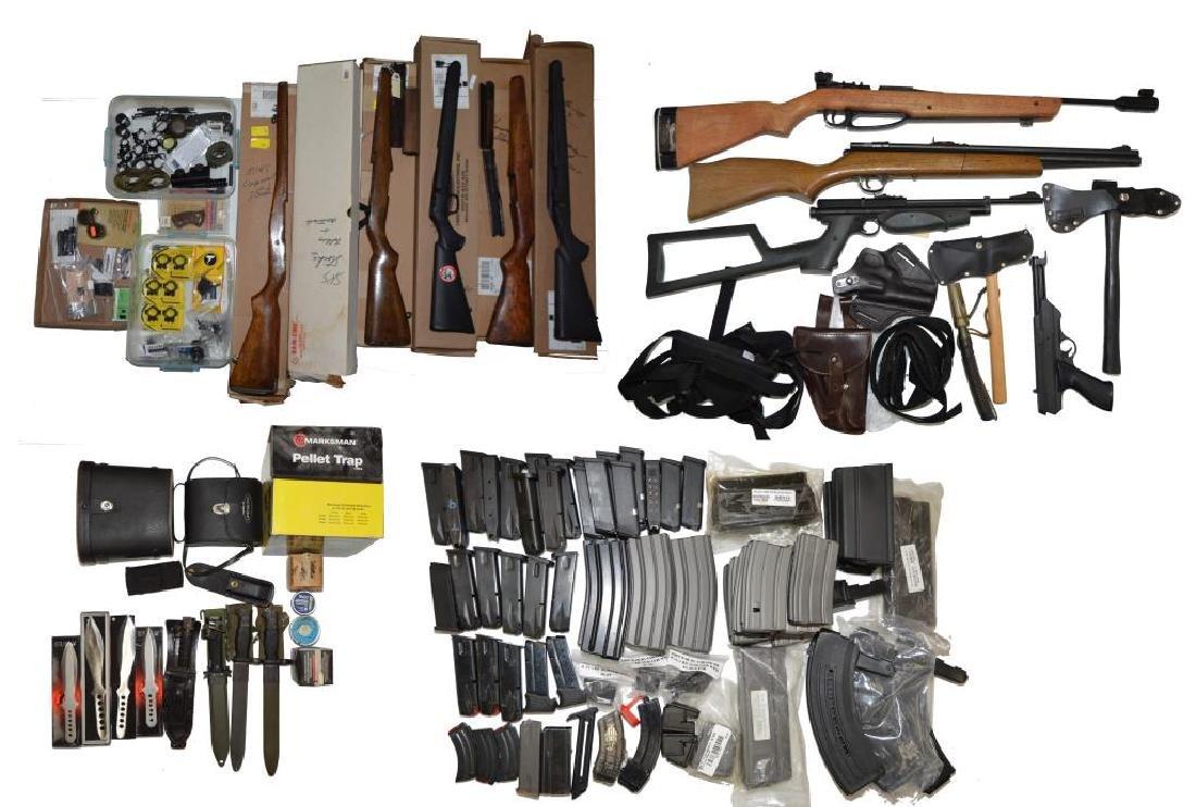 GROUP OF AIR GUNS, MAGAZINES, STOCKS, PARTS,