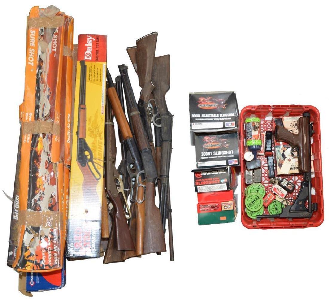 LARGE LOT OF PELLET GUNS, BB GUNS, TOY GUNS, SLING