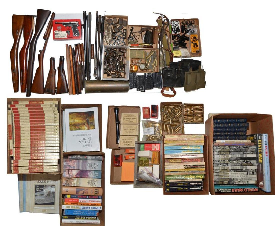 GUN PARTS, AMMO, RELOADING SUPPLIES & BOOKS.