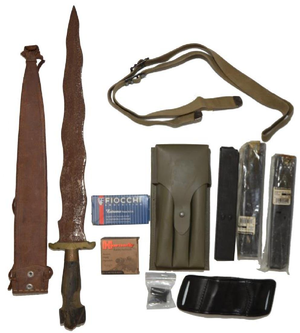 AMMO, MAGS. & A KRIS TYPE DAGGER.
