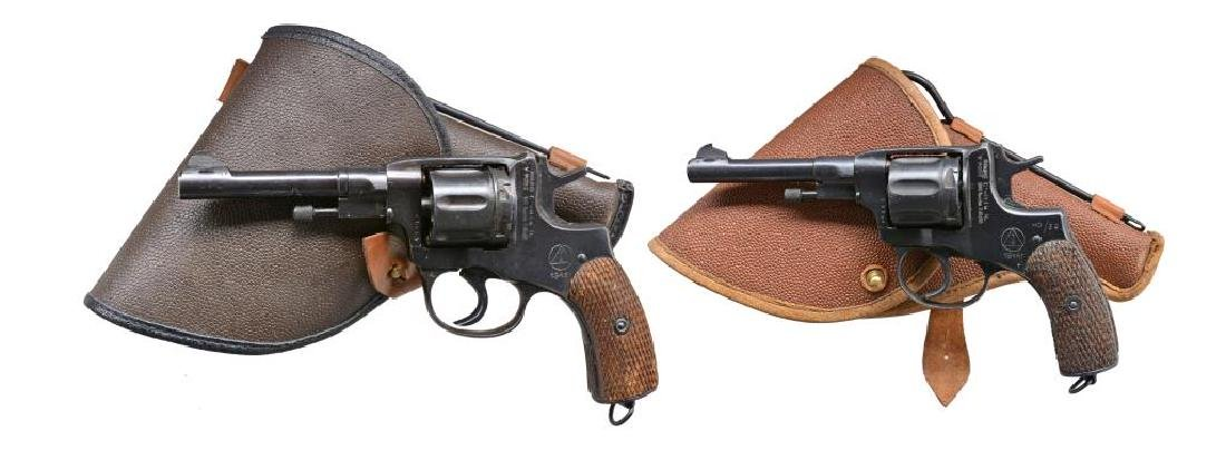 2 RUSSIAN MODEL 1895 NAGANT REVOLVERS & HOLSTERS.