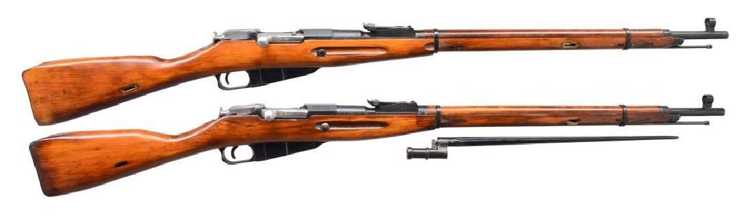 2 RUSSIAN MODEL 91/30 BOLT ACTION RIFLES.