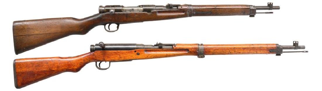 2 JAPANESE MILITARY BOLT ACTION RIFLES.