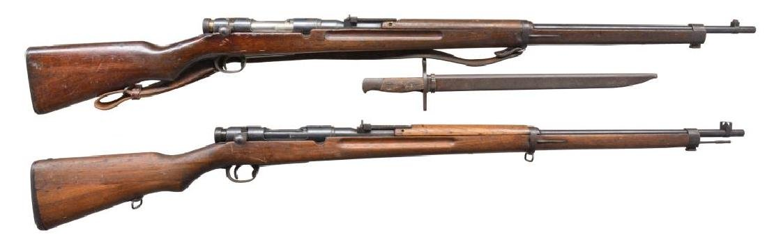 2 JAPANESE TYPE 38 BOLT ACTION RIFLES.