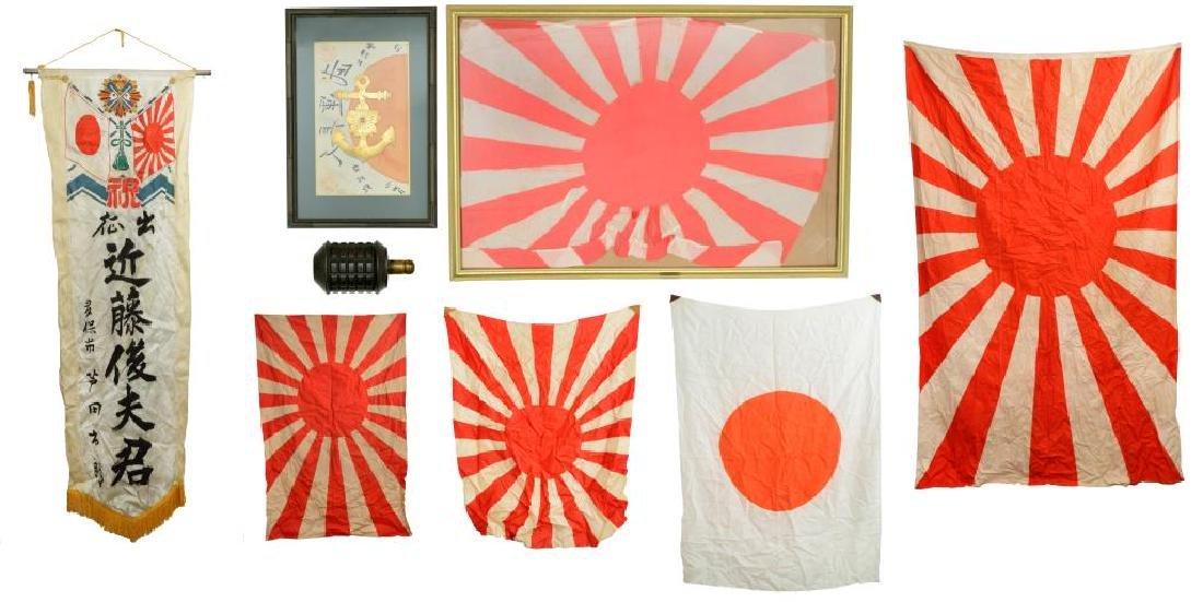 WWII JAPANESE FLAGS, PENNANTS & GRENADE.