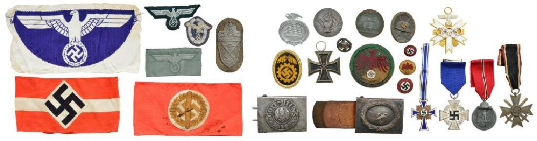 WWII GERMAN MEDALS, BUCKLES, ARMBANDS, PINS & MORE