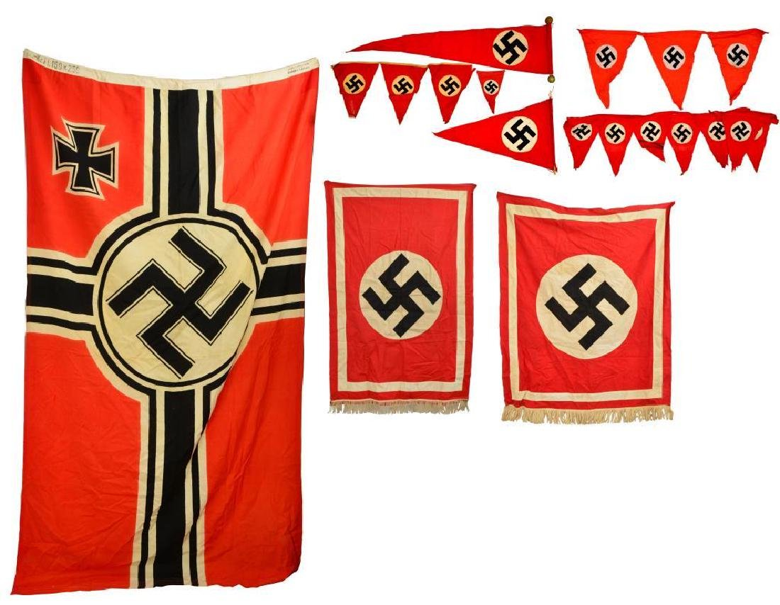 WWII GERMAN BANNERS, PENNANTS & FLAG.