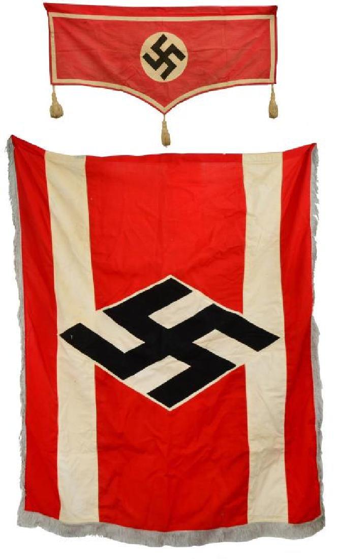 WWII GERMAN FLAG & WINDOW SASH.