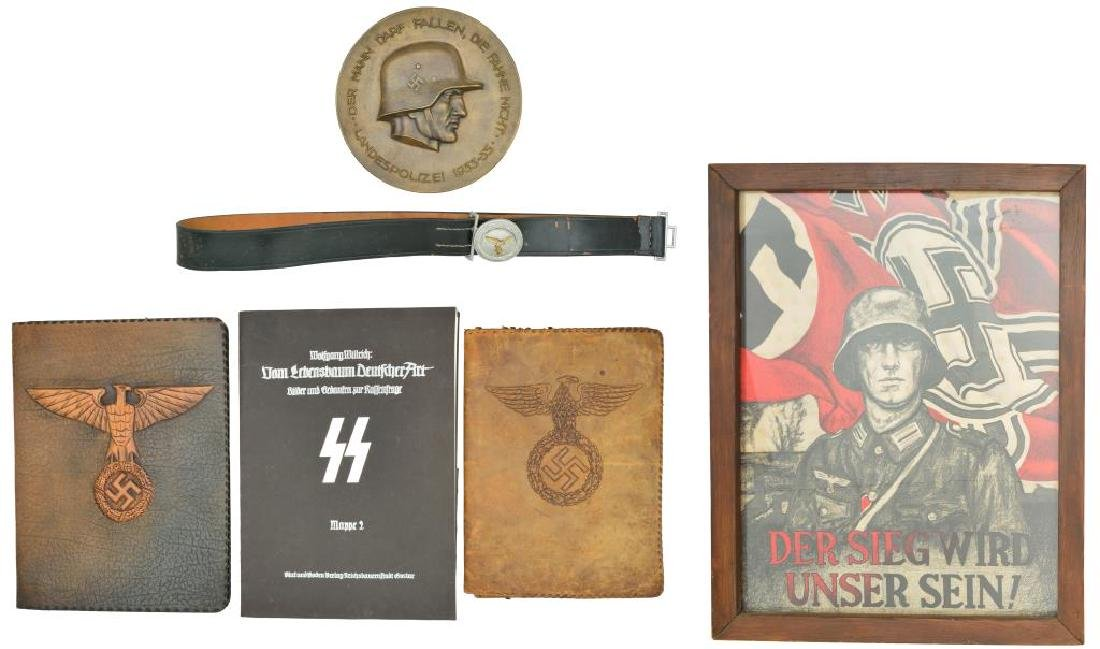 WWII GERMAN PRESENTATION PLAQUE, PORTFOLIOS, AND