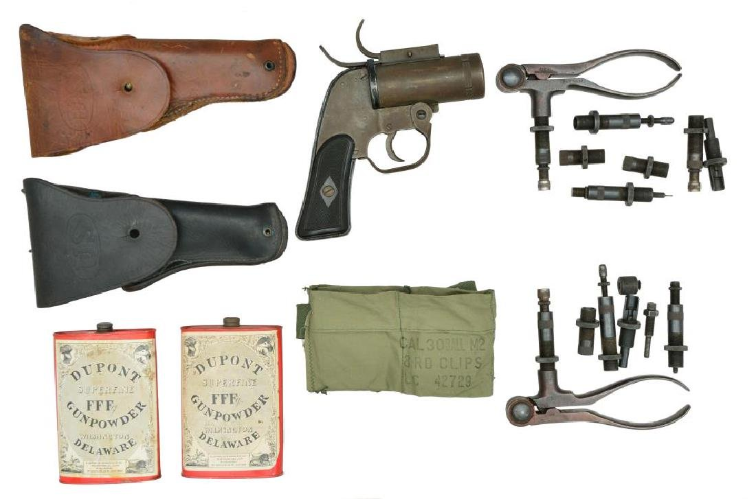 FLARE GUN, POWDER CANS, HOLSTERS & MORE.