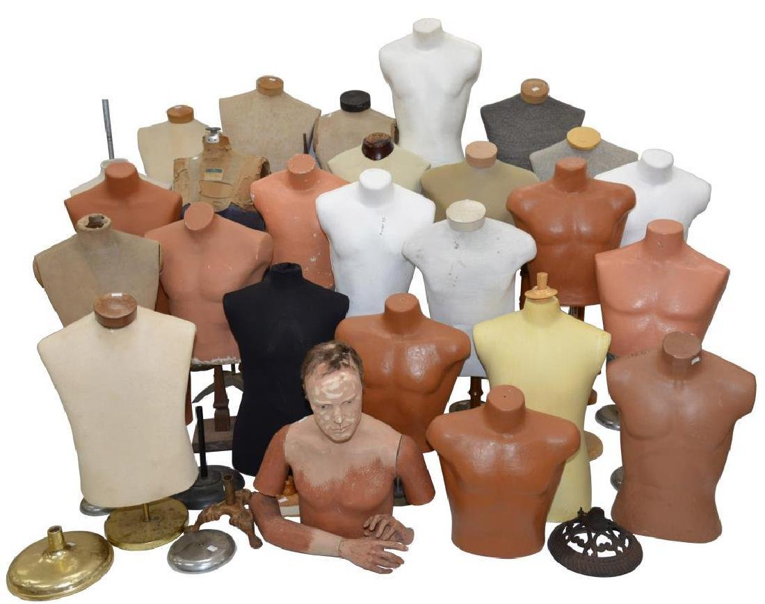 LARGE GROUP OF MOSTLY TORSO MANNEQUINS.