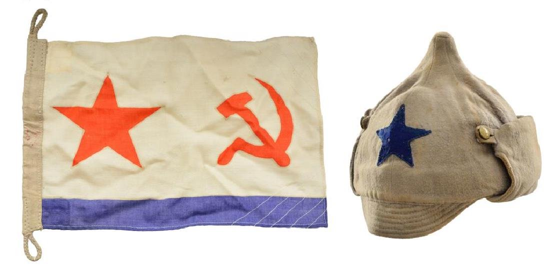 WWII RUSSIAN FLAG & RUSSIAN BUDENOVKA CAP.
