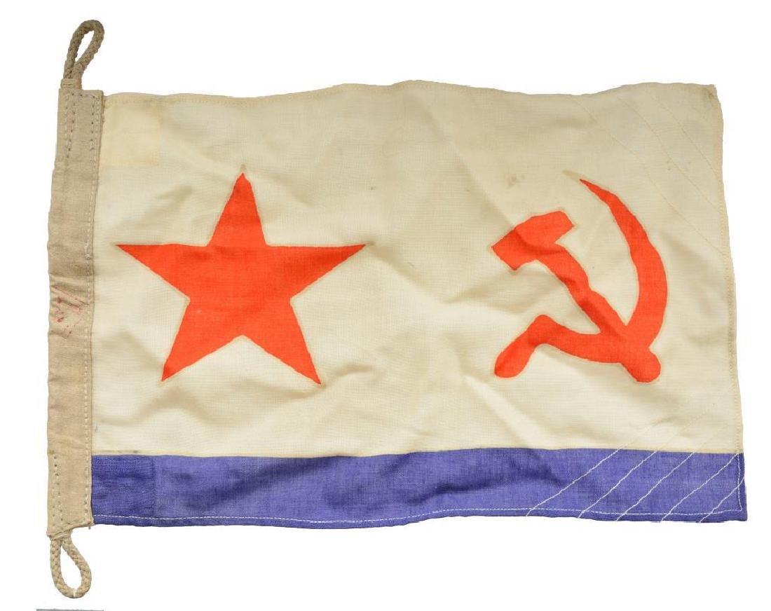 WWII RUSSIAN FLAG & RUSSIAN BUDENOVKA CAP. - 2